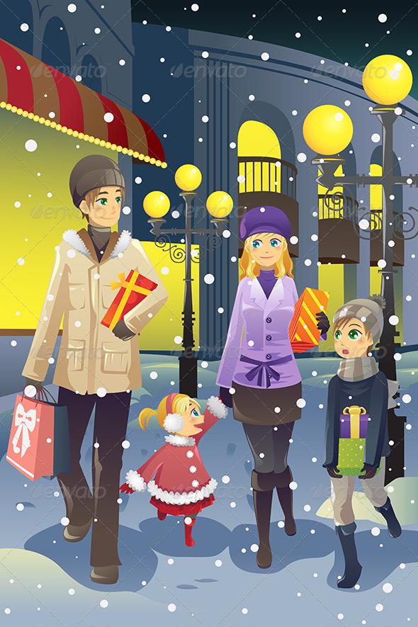 Shopping Family in Winter