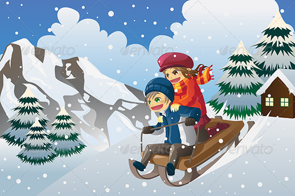 GraphicRiver Kids Sledding in the Snow 5876311