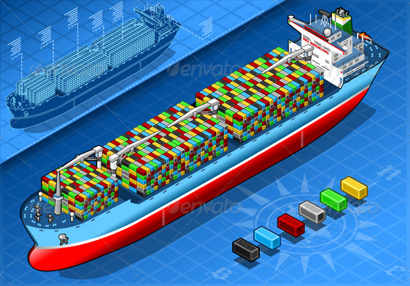 GraphicRiver Isometric Cargo Ship with Containers Isolated 5876336