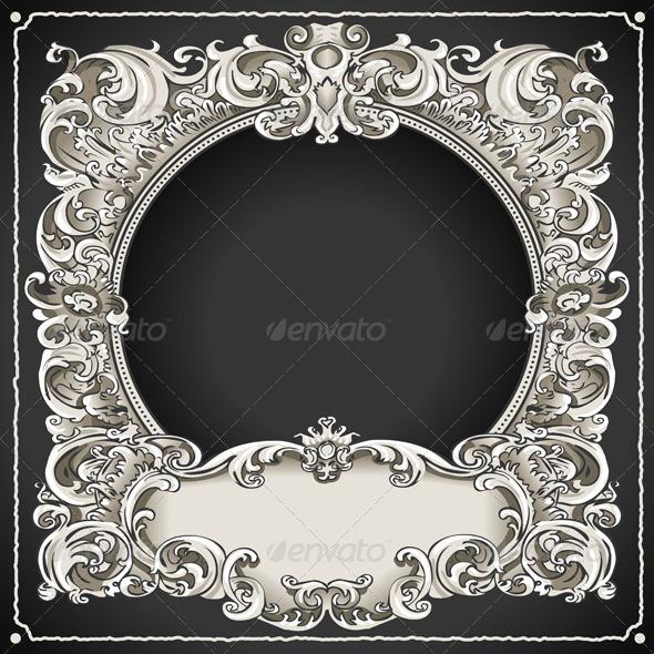 GraphicRiver Vintage Floral Frame 5876375