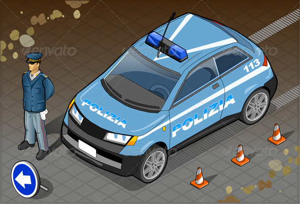 GraphicRiver Isometric Italian Police Car 5876451