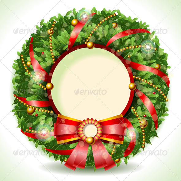 GraphicRiver Wreath Christmas with Red Ribbon 5876477