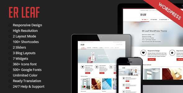 ER Leaf - Responsive Business WordPress Theme - Business Corporate