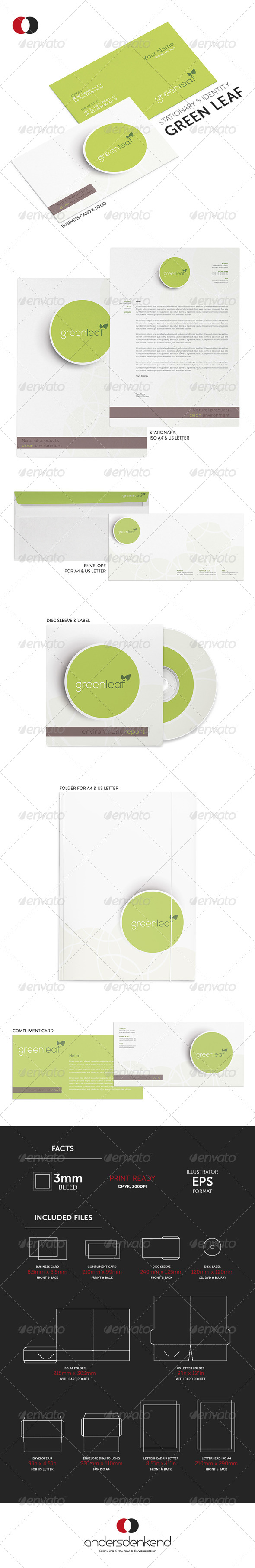 GraphicRiver Stationary & Identity Green Leaf 5877007
