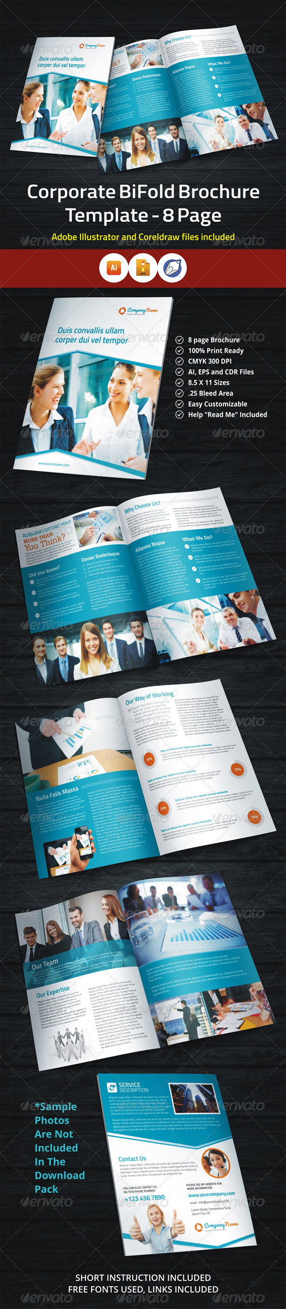 GraphicRiver Corporate BiFold Brochure Template 8 Page 5877138