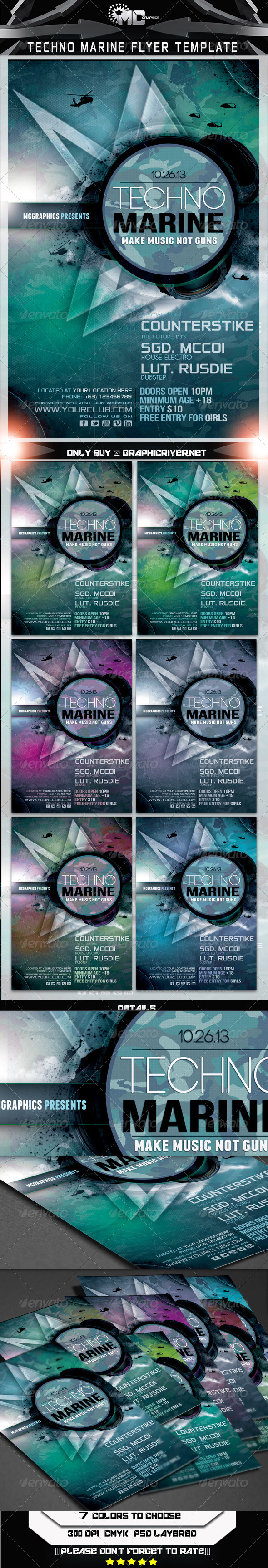 GraphicRiver Techno Marine Flyer Template 5877252