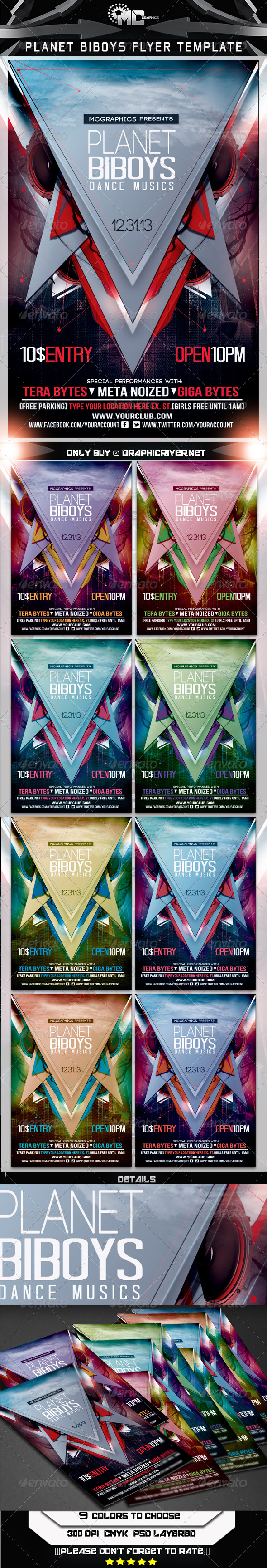 GraphicRiver Planet Biboys Flyer Template 5877379