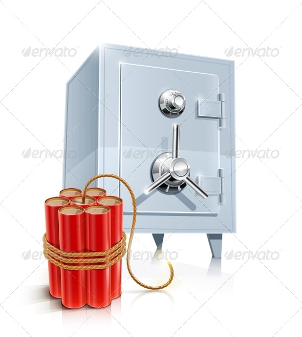Close Metallic Safe with Bomb