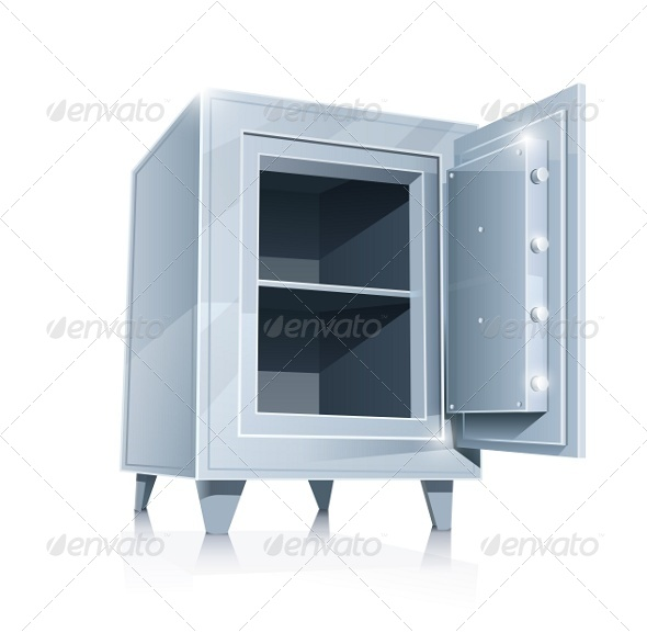 Open Empty Metallic Safe