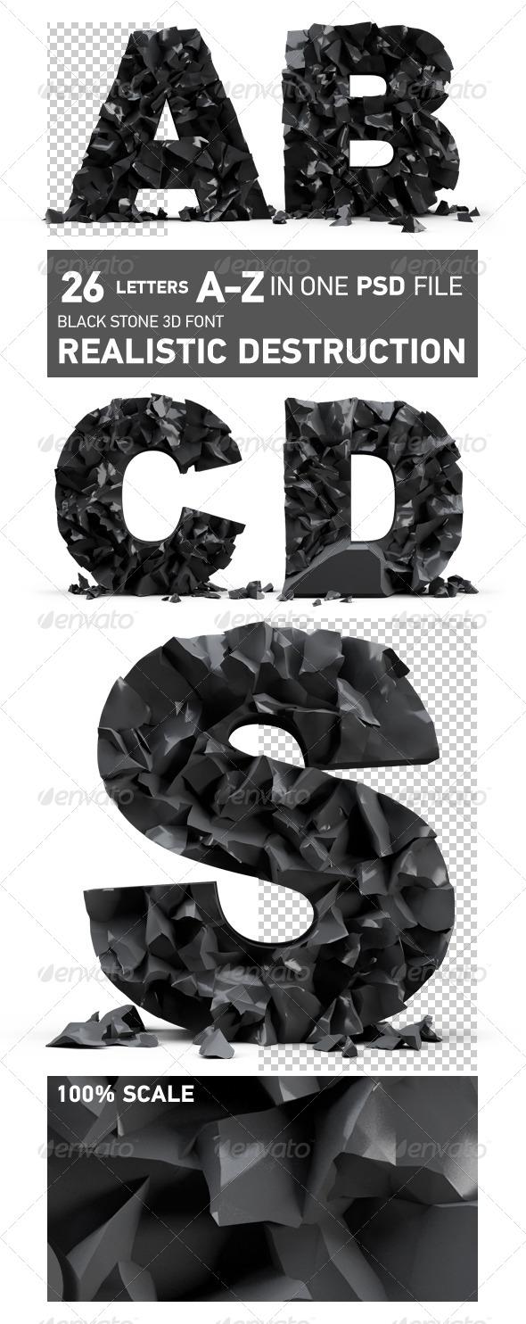 GraphicRiver Black stone 3D font realistic destruction 5837441