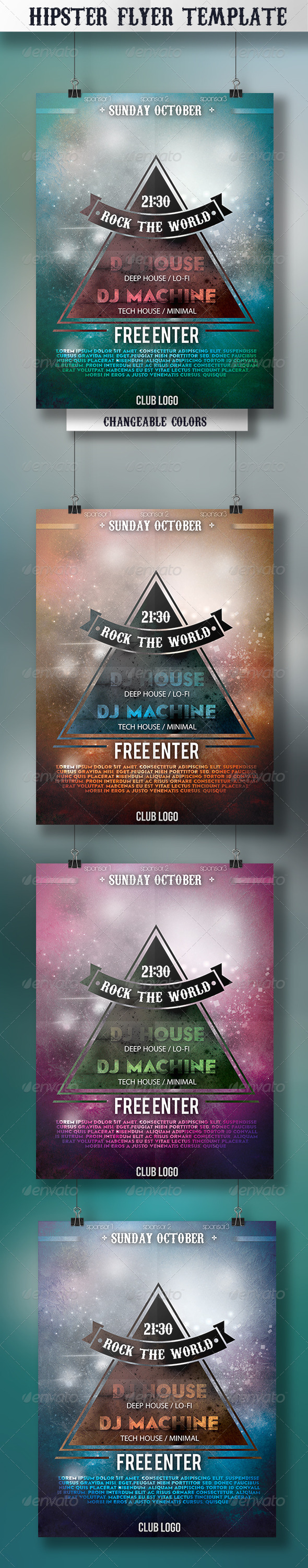 GraphicRiver Hipster Flyer Template 5072267