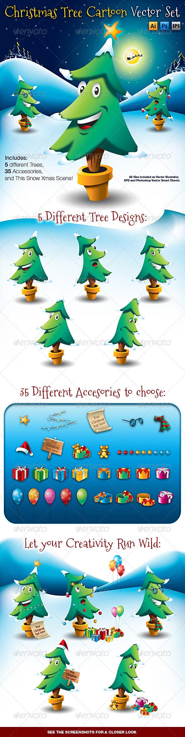 Christmas Tree Cartoon Vector Set - Christmas Seasons/Holidays