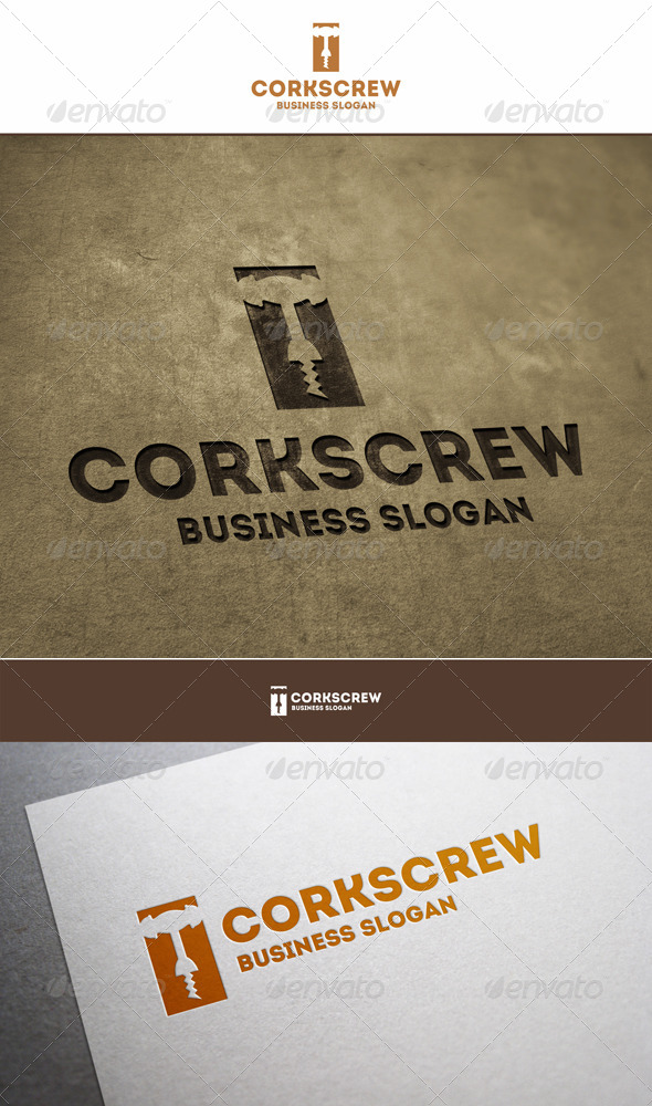 GraphicRiver Wine Corkscrew Logo 5878187
