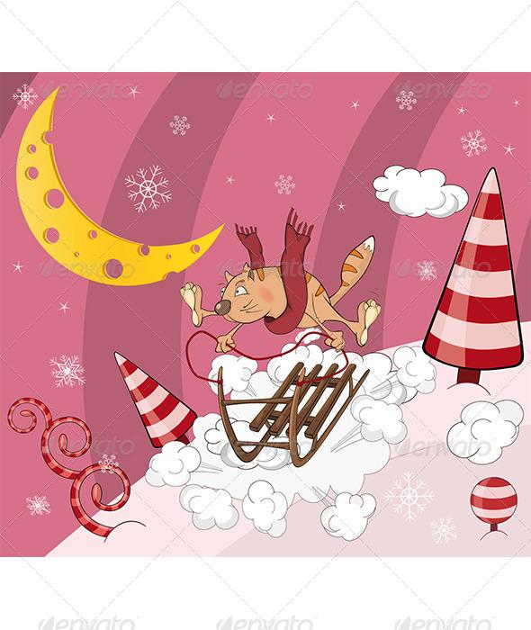 GraphicRiver Cat on Sledge Cartoon 5879040