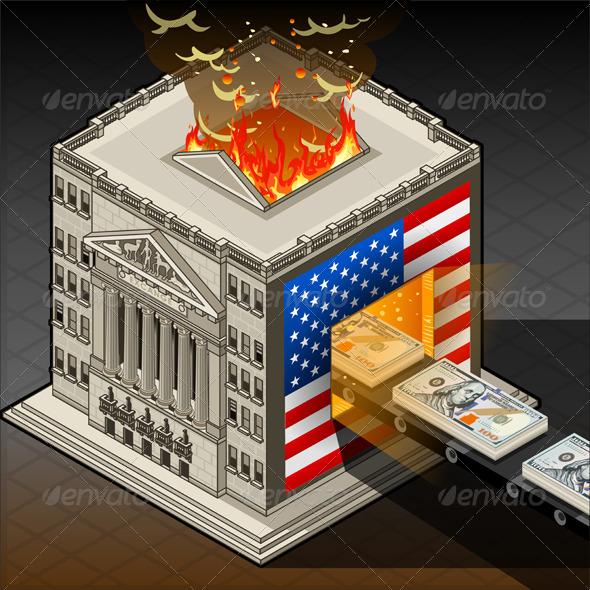GraphicRiver Isometric Stock Exchange Burning Dollars 5879270