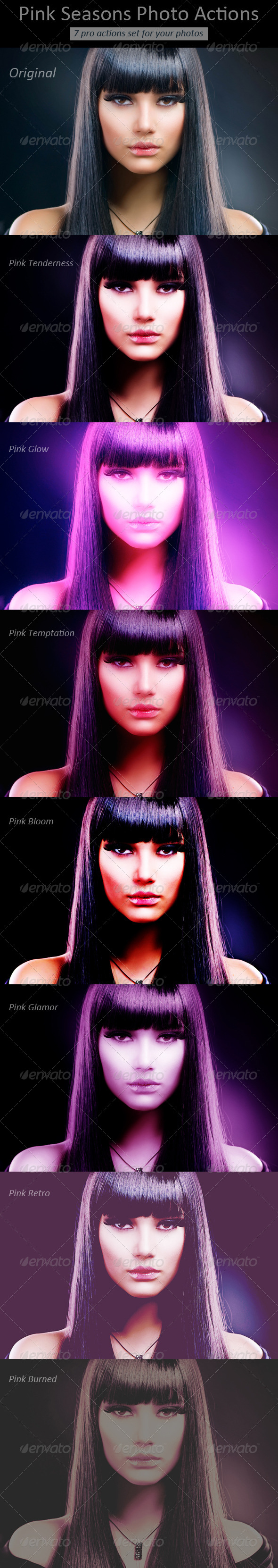 7 Pink Seasons Photo Actions - Photo Effects Actions