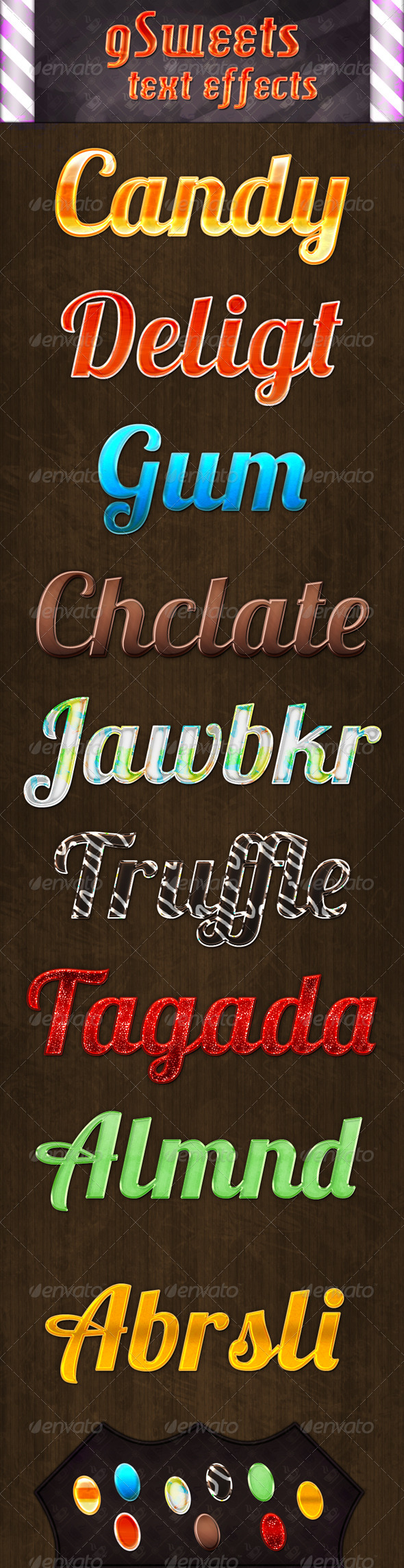 GraphicRiver Nine Sweet Text Effects 5879919