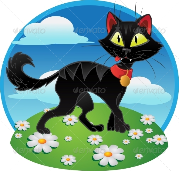 GraphicRiver Black Cat on Color Background 5879926