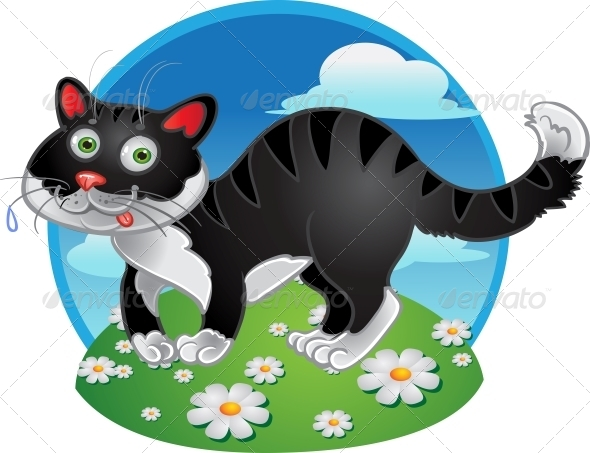 GraphicRiver Black Cat on Color Background 5879956