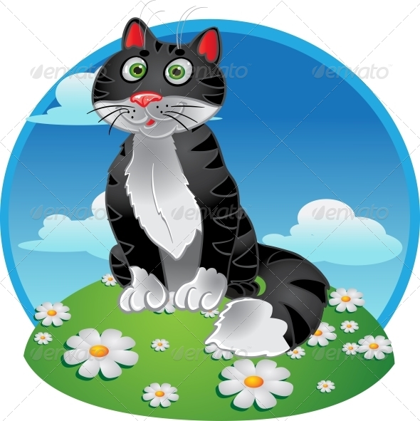GraphicRiver Black Cat Sitting on Color Background 5880035