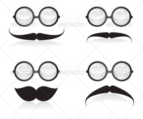 GraphicRiver Mustache and Sunglasses Illustration 5880264