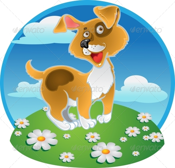 GraphicRiver Orange Dog on a Color Background 5880518