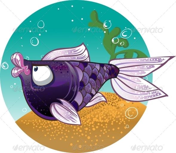 GraphicRiver Dark Violet Fish on Bacground 5881364