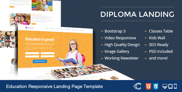 ThemeForest Diploma Education Bootstrap Responsive Landing 5881465