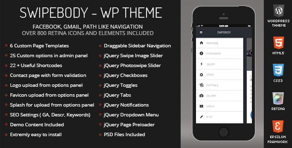 ThemeForest Swipebody Mobile Retina WordPress Version 5881621