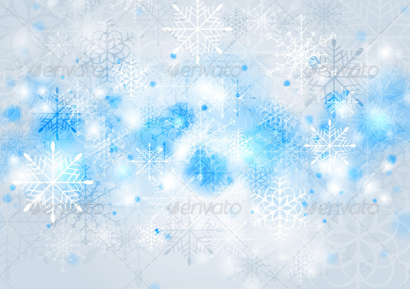 GraphicRiver Bright Blue Vector Christmas Background 5881670