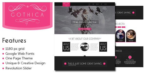 ThemeForest Gothica A one Page Wordpress Theme in Goth Style 5881782