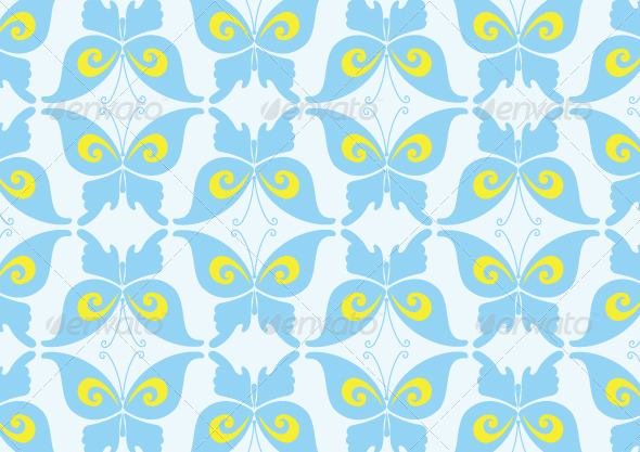 GraphicRiver Blue Butterfly Pattern Design 5881953