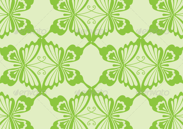 GraphicRiver Green Butterfly Pattern Design 5882019
