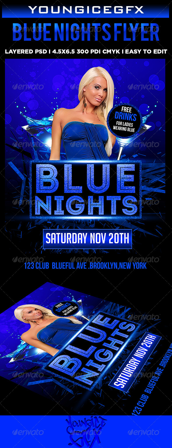 GraphicRiver Blue Nights Flyer 5882176