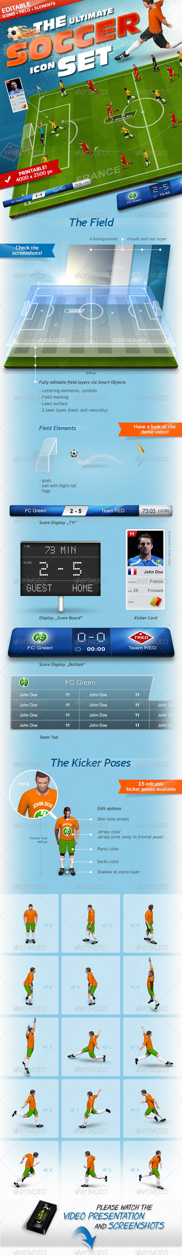 GraphicRiver The Soccer Set Kicker Icons Field and Elements 5882321