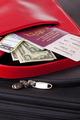 Suitcase Passport tickets and money.