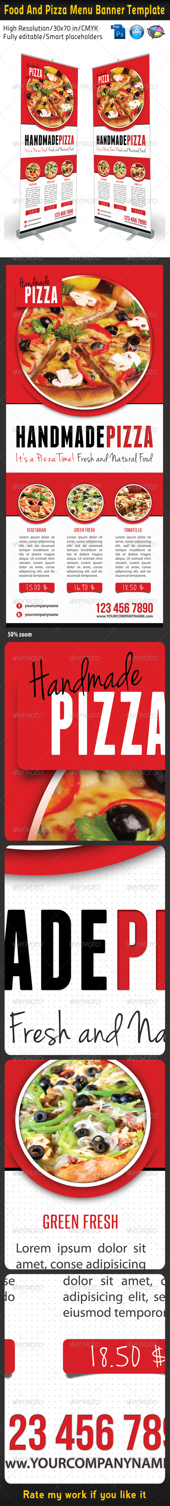 Food And Pizza Menu Banner Template 01 - Signage Print Templates