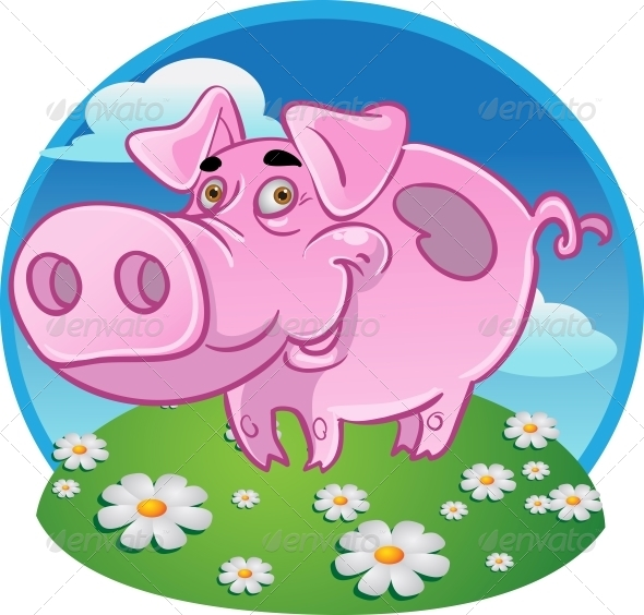 GraphicRiver Funny Pink Pig on Color Background 5882528