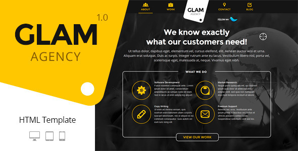 ThemeForest Glam Agency One Page Responsive HTML5 Template 5125218