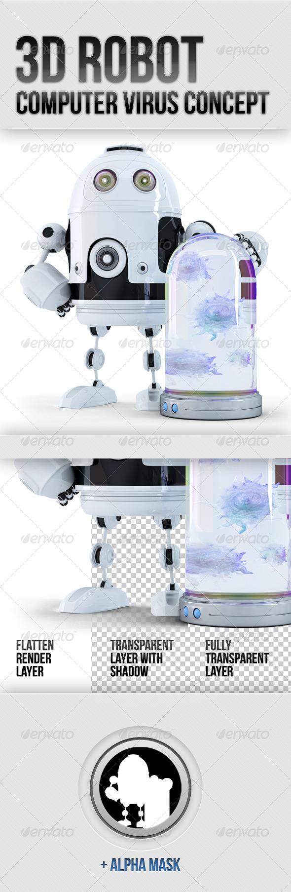 GraphicRiver 3D Robot Computer Virus Concept 5883329