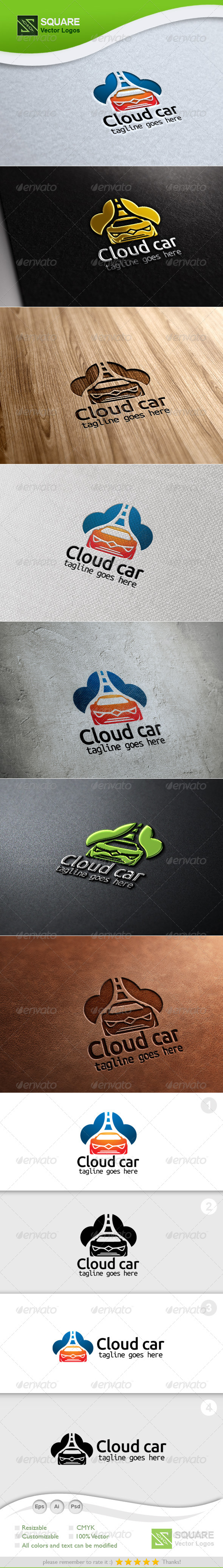 Cloud Car Vector Logo Template