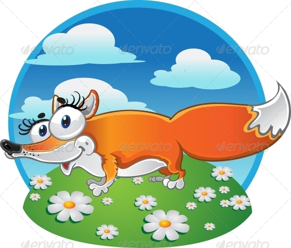 GraphicRiver Cheerful Fox on Background 5883394