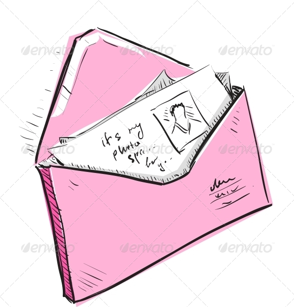 GraphicRiver Letter and Photos in Envelope Cartoon Icon 5883403