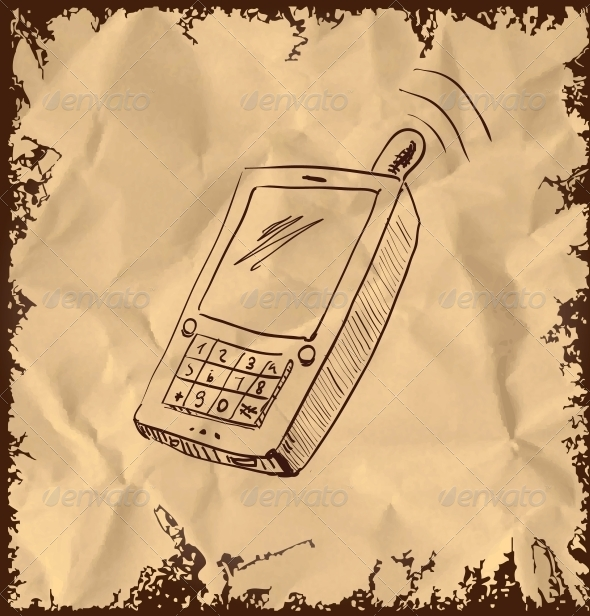 GraphicRiver Old Mobile Phone on Vintage Background 5883412