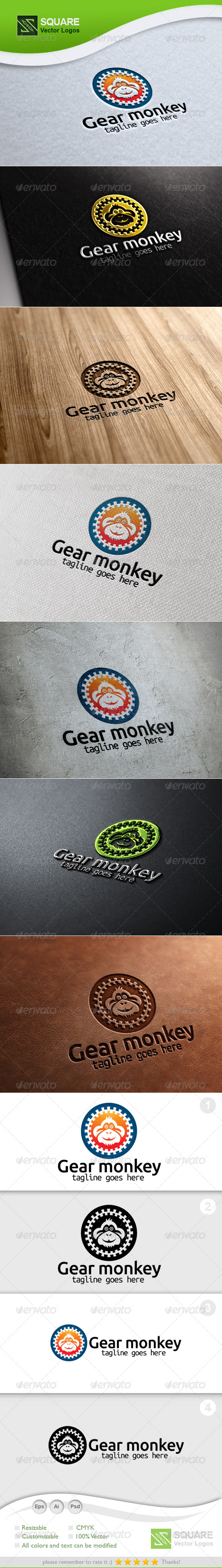 Gear, Monkey Vector Logo Template - Animals Logo Templates