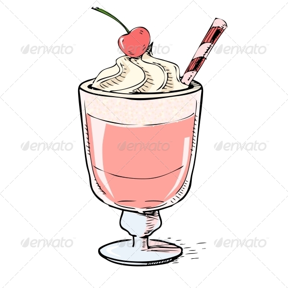 GraphicRiver Creamy Milk Shake with Cherry and Foam 5883485