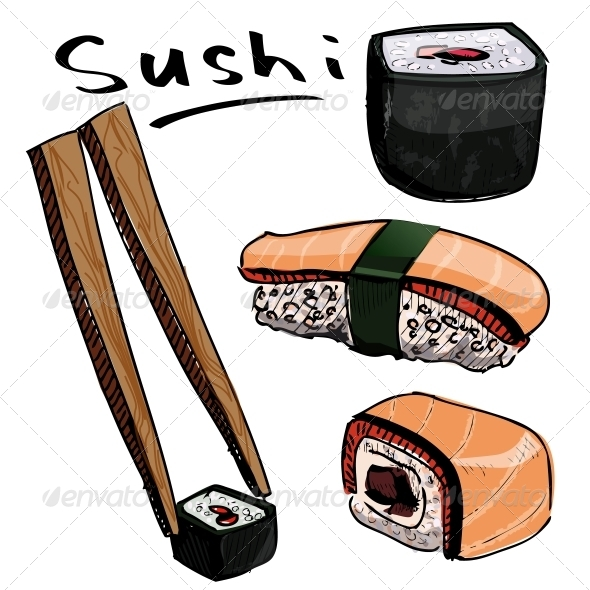 GraphicRiver Sushi Colorful Collection 5883501