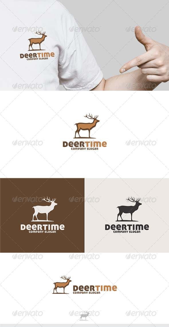Deer Time Logo - Animals Logo Templates