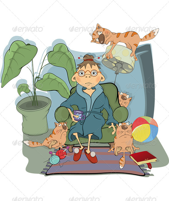 GraphicRiver Grandmother and Her Cats Cartoon 5884234