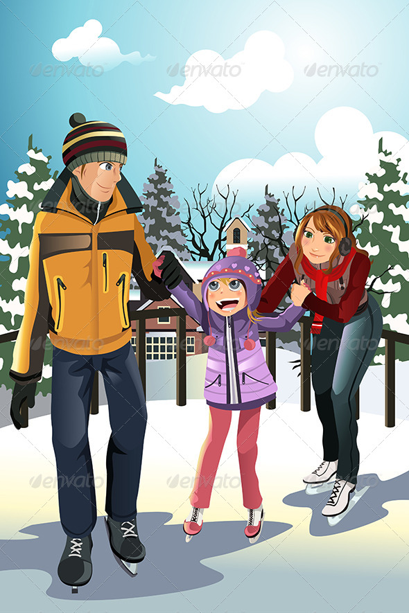 GraphicRiver Family Ice Skating 5884520